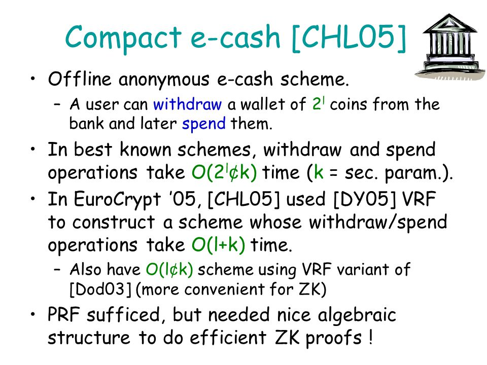 Compact e-cash [CHL05] Offline anonymous e-cash scheme.